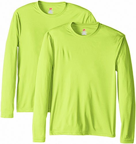 Hanes Men's Long Sleeve Cool Dri T-Shirt UPF 50+, Medium, 2 Pack ,Safety Green