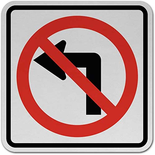 (Traffic Signs - No Left Turn Sign 12 x 18 Plastic Sign Street Weather Approved)
