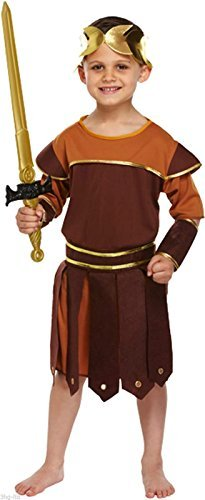 [New Boys Fancy Dress Up Costume Kids Roman General Child Knight Hunter Napoleon Boy Roman Soldier Outfit (Medium 7-9 Years, Roman Soldier) by N&L Private] (Napoleon Hat Costume)