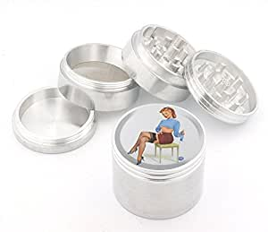 Vintage Pin Up Girl Design Medium Size 4pcs Aluminum Herbal or Tobacco Grinder # G50-92415-22