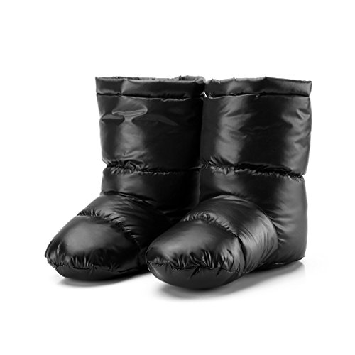ULKEMESleeping Bag Duck Down Slippers Camping Soft Sock Warm Travel Lightweight Winter (L, black) (Duck Sleeping)