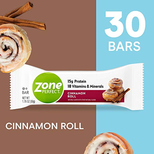 ZonePerfect Protein Bars, Cinnamon Roll, High Protein, With Vitamins & Minerals (30 Count)