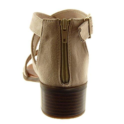 4 Fibbia Cinturino Angkorly Incrociate Tacco Donna Alto alla Beige con cm Cinghie Scarpe a Caviglia Sandali Moda Blocco qfgv8nqZ