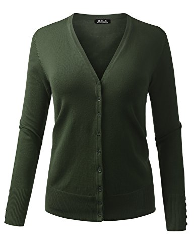 - BH B.I.L.Y USA Women's V-Neck Button Down Long Sleeve Classic Knit Cardigan Olive Medium