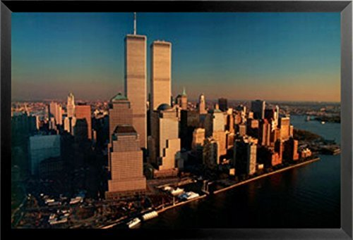 Buyartforless FRAMED Over And Above - New York City Skyline by Gail Mooney 36x24 Photographic Art Print Poster Manhattan Twin Towers Downtown - Above Manhattan Poster