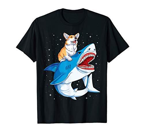 Corgi Shark T shirt Kids Boys Men Space Galaxy Jawsome Gifts -