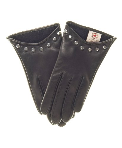 Fratelli Orsini Women's Italian Cashmere Lined Leather Gloves with Studs Size 8 1/2 Color Black by Fratelli Orsini