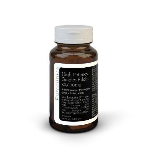 Pureclinica высокой потенции Гинкго Билоба 30,000mg. 3 месяца питания в 5 раз сила продуктами конкурентов с 600 мг 50: 1 экстракт и 24% флавоновые гликозиды на таблетку