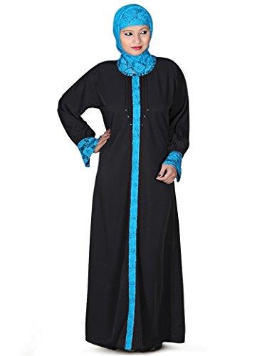 MyBatua black & turquoise islamic casual & formal desgaste abaya burqa AY-128