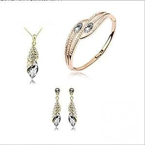 Smashing Pumpkins collar de cristal de Austria con la pulsera de la pendiente de tres piezas traje 4156-21 (8 colores)