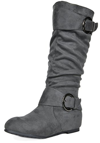 grey Low Wedge Hidden Knee PAIRS DREAM Suede Boots Women's High Ura qwAHzzI