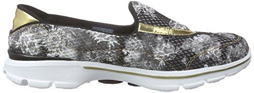 Skechers Damen Go Walk 3Gold Rush Sneakers Schwarz (BWGD)