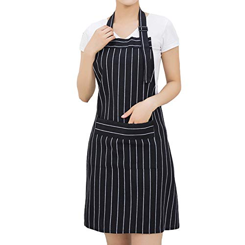 VILONG Adjustable Bib Apron with Pockets - Extra Long Ties, Unisex - Black/White Stripe Pinafore for Cooking, Baking, Gardening, Crafting, BBQ-Damask (28 x 26 Inches)