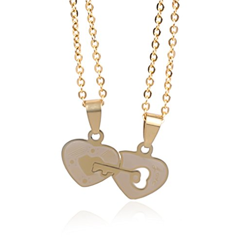 NickAngelo's Set of 2 Distant Relationship Couple Pendant Necklaces Love Key to Heart Elegant Fashion Jewelry For Women And Men Stainless Steel by NickAngelo's