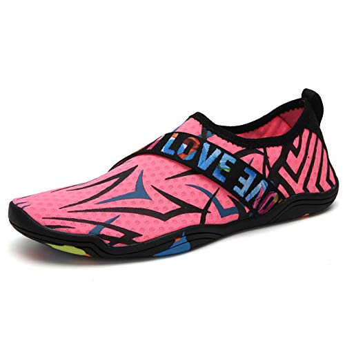 Swimming Shoes Diving Snorkeling Shoes Treadmill Shoes Drifting Wading Quick-Drying Soft Beach Non-Slip Water Sports Shoes Unisex Pink