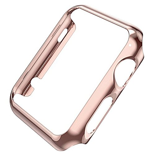 vanki Case Compatible with Apple Watch Case Series 3 Thin PC iWatch Protective Cover for 38mm 42mm (38mm, Rose Gold)