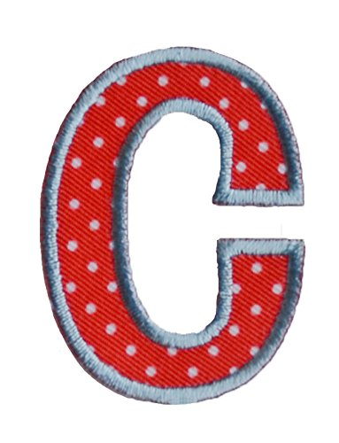 TrickyBoo Iron-On Letter Patch Craft Applique C Red White 9Cm Personalize Clothing Fabric Names Crafts Jeans To Iron On Cap Jacket Neckerchief Ceiling Flag Pants Plate Backpack Trousers Cushion Scarf