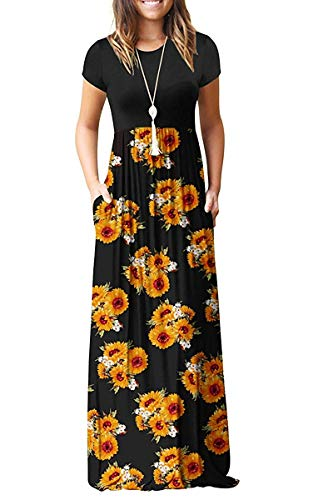 AUSELILY Women Short Sleeve Loose Plain Casual Long Maxi Dresses with Pockets (S, Sunflowers)