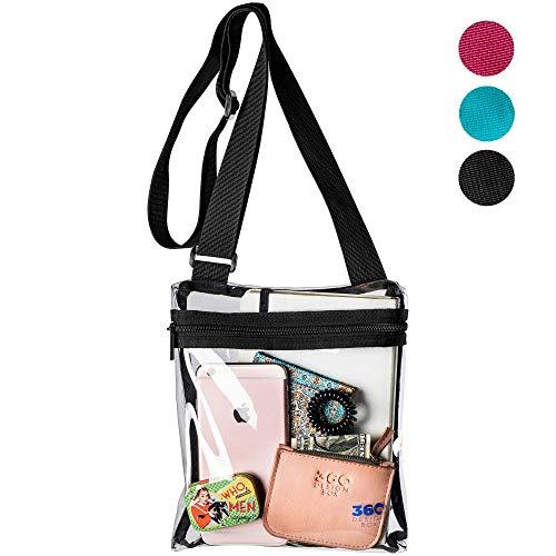 360 DESIGN BOX Clear Cross-Body Messenger Shoulder Bag, PGA, NCAA & NFL Stadium Approved Transparent Purse, See Through Security Handbag (Black) ()