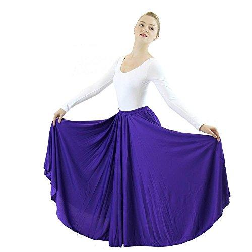 Danzcue Womens Long Full Circle Dance Skirt, Deep Purple, S-M (Length Circle Skirt)