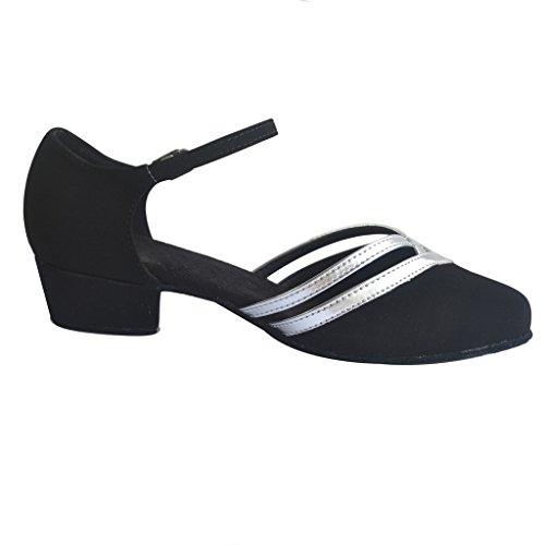 Jig Foo latine salsa Rumba Chacha Chaussures de danse de chaussures d'entraînement pour Femme noir/argenté A5KB0A
