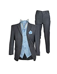 Boys 5PC Cravat Wedding Grey Suit Kids Suits