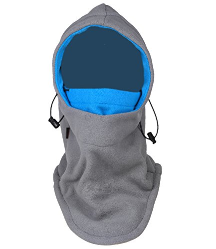 Tahbilk Balaclava Fleece Hood,Heavyweight Cold Weather Winter Motorcycle,Windproof Ski Mask,Ski&Snowboard Gear (Grey+Blue)