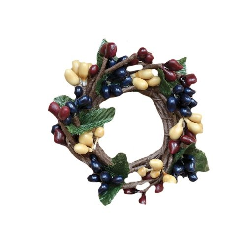 Berry Taper Candle Ring - CWI Gifts 6-Piece 1-Inch Colonial Pip Berry Ring Set, Mini