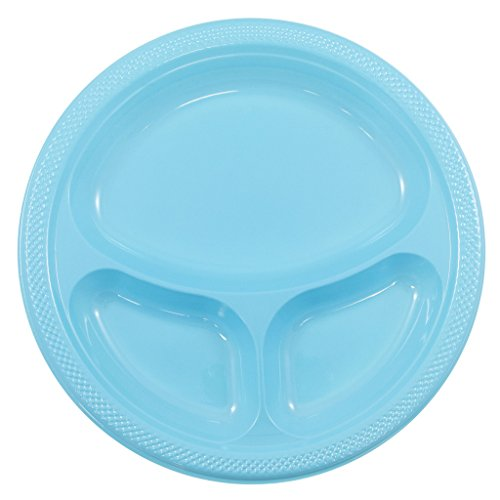 Divided Party Plates - JAM Paper Plastic 3 Compartment Divided Plates - Large - 10.25