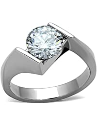2.04 Ct Round Cut Cubic Zirconia Stainless Steel Engagement Ring Women's Sz 5-10