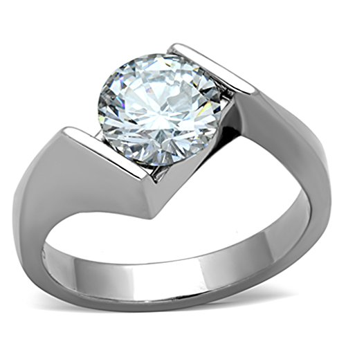 2.04 Ct Round Cut Cubic Zirconia Stainless Steel Engagement Ring Womens Sz 5-10