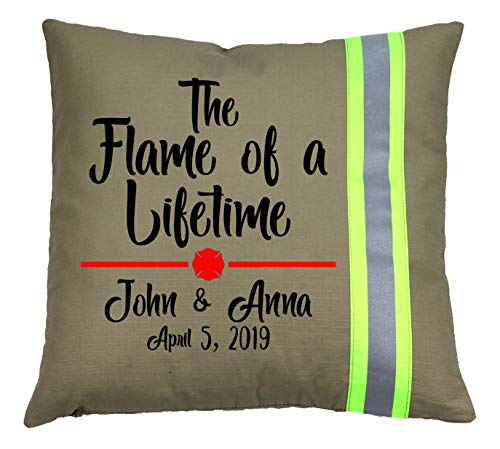 Fully Involved Stitching Firefighter Personalized Tan Flame of a Lifetime Throw Pillow