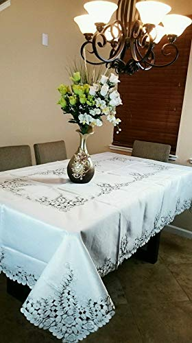 Mikash Embroidered Cutwork Peacock Embroidery Tablecloth Napkin 54x72 Elegant Linen | Model TBLCLTH - 947
