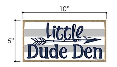 Little Dude Den - 5 x 10 inch Hanging Boys Room Decor, Wall Art, Decorative Wood Sign Home Decor