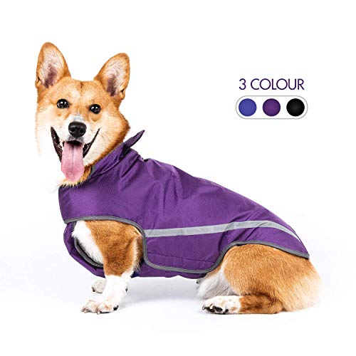 SENYE PET Dog Raincoat Lightweight Waterproof Clothes Ajustable Pet Dog Rain Jacket Poncho with Visibility Safety Strip Reflective & Leash Hole Dog Vest for Small Medium Large Dogs Puppy (M, Purple)