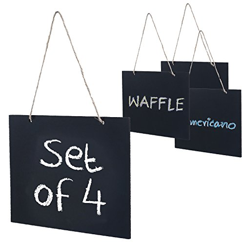 MyGift Set of 4 Small Chalkboard Hanging Signs, Decorative Wooden Message Boards