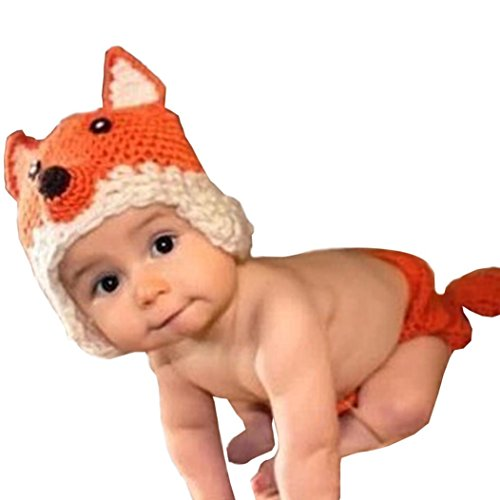 Baby Hat, Hometom Baby Knit Fox Shorts+Hat Photography Prop Photo (Orange)