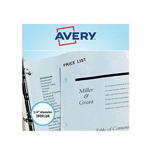 Avery 05722 Self-Adhesive Hole Reinforcement Labels, 1/4'' Round, Clear, 1000/PK