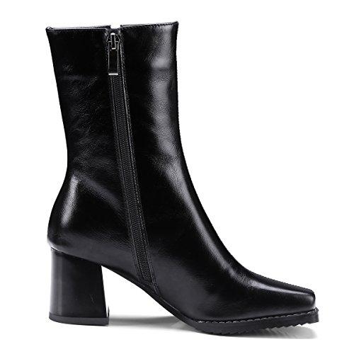 Square Black Boots Genuine Heels Zipper Ladies Block Toe Women Black Fashion Heels High Ankle Leather 41O8nE
