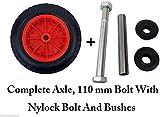 """PU 14"""" Puncture Proof RED Wheelbarrow Wheel Tyre 3.50 - 8 foam filled + AXLE"""