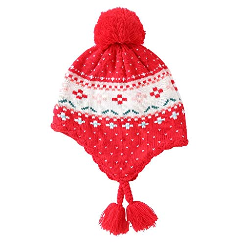 (Home Prefer Kids Toddler Girls Earflap Hat Red Beanie Warm Knitted Children Hat XL)
