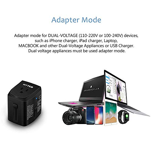 2000Watts Travel Adapter and Converter Combo Step Down Voltage 220V to 110V for Hair Dryer Steam Iron Laptop MacBook Cell Phone World Plug Power Adapter for US to UK Europe AU Over 150 Countries by HYTED (Image #2)