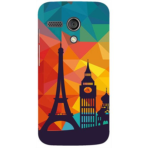 Casotec Coloured Paris Design 3D Printed Hard Back Case Cover for Motorola Moto G 1st Generation