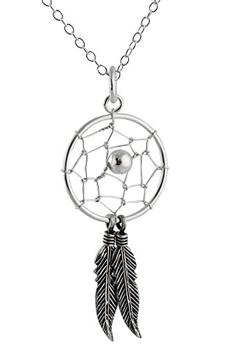 Sterling Silver Dream Catcher Pendant Necklace, 18""