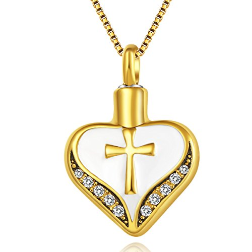 UNY stainless steel Heart shape with cross Cremation Jewelry Urn Necklace pet Memorial Pendant keepsake