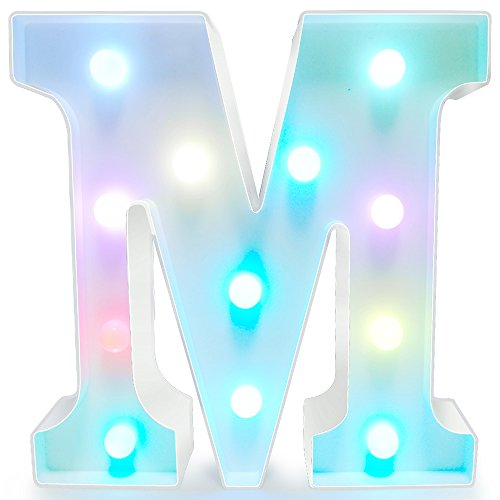 Alphabet Lamp (Letters Light Letters Party Supplies Kids Alphabet Colorful Letters Lamp Battery Operated Alphabet Table Decorations for Wall Decoration,Kids' Room,Living Room,Bedroom (M))