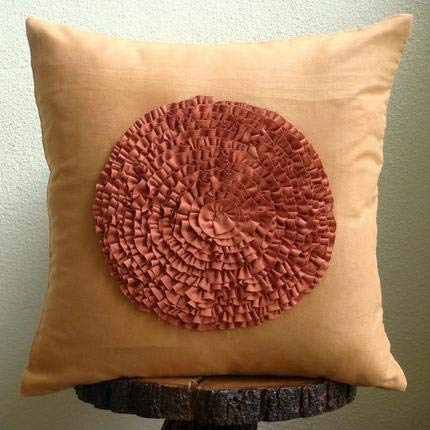 Luxury Rust Decorative Pillow Cover, Vintage Style Frills Medallion Pillow Cases, 18