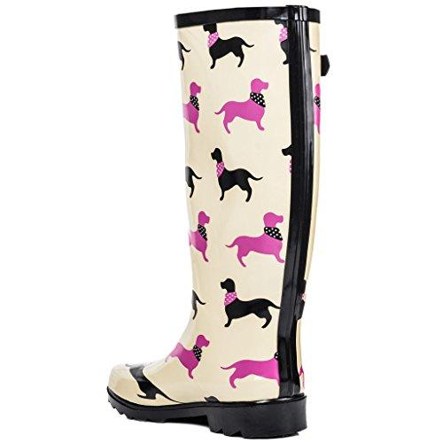 Boots Knee Flat Wellies Spylovebuy Cream Festival Fiesta High Rain Rubber Women's qI7w8wEa
