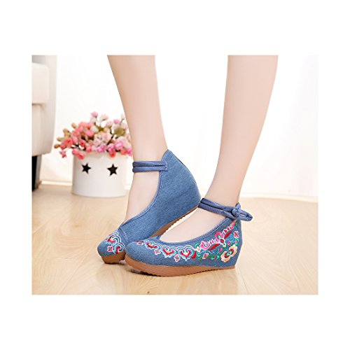 Chaussures Florales Chinoises Brodées Vintage Femme MINZUFENG Ballerines Mary Jane Ballerine Flat Ballet Cotton Loafer Bleu