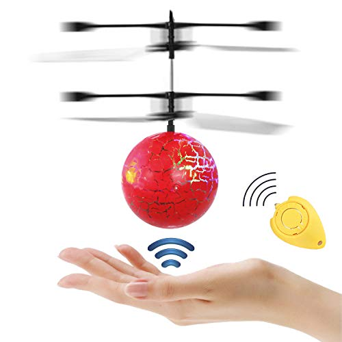 JAMSWALL RC Flying Ball, Infrared Induction Helicopter, Colorful Shinning LED Lights Disco Ball Drone, Rechargeable Light up Sensor RC Toy (Red Crack)